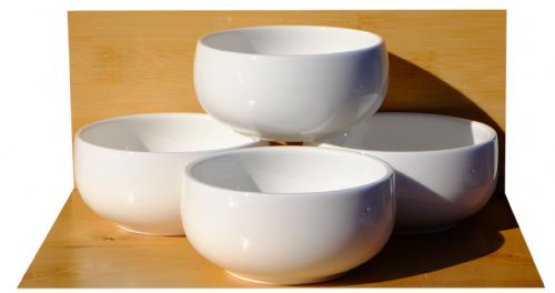 Korean style white Rice & Soup Bowls x4 -  9.8cm